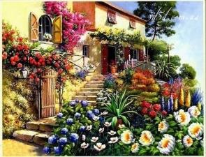 """Набор алмазной мозаики """"Лестница в цветах"""""""