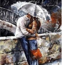 """Набор алмазной мозаики """"Влюбленные под зонтиком"""""""