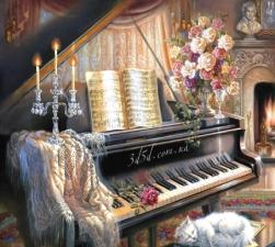 """Набор алмазной мозаики """"Фортепиано со свечами"""""""