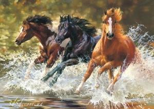 """Набор алмазной мозаики """"Три лошади в брызгах воды"""""""