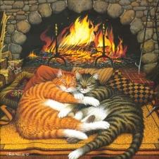 """Набор алмазной мозаики """"Коты у камина"""""""