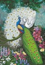 """Набор алмазной мозаики """"Павлины в цветах"""""""