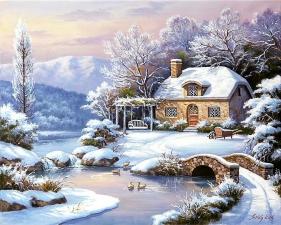 """Набор алмазной мозаики """"Тихий зимний вечер"""""""