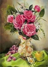 """Набор алмазной мозаики """"Розы с виноградом"""""""