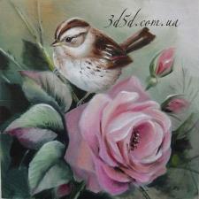 """Набор алмазной мозаики """"Птичка на розе"""""""
