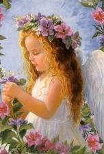 """Набор алмазной мозаики """"Ангел в цветах"""""""