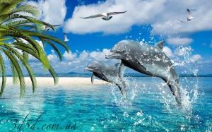 """Набор алмазной мозаики """"Лазурное море и дельфины"""""""