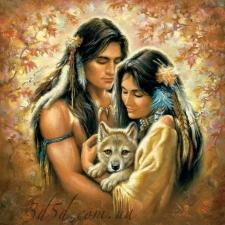 """Набор алмазной мозаики """"Пара с волчонком"""""""