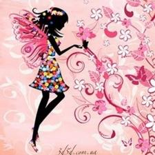 "Набор алмазной мозаики ""Фея на розовом фоне"""