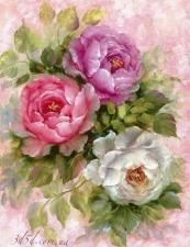 """Набор алмазной мозаики """"Три разноцветные розы"""""""