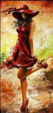 """Набор алмазной мозаики """"Девушка в красной шляпе"""""""