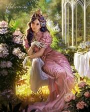 """Набор алмазной мозаики """"Девушка в пионах"""""""
