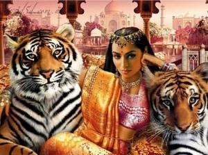 """Набор алмазной мозаики """"Индианка с тиграми"""""""