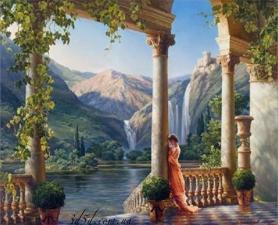 """Набор алмазной мозаики """"Девушка у колонны"""""""