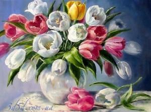 """Набор алмазной мозаики """"Букет тюльпанов на голубом фоне"""""""