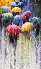 """Набор алмазной мозаики """"Зонтики. Радуга дождя С. Сидоров"""""""