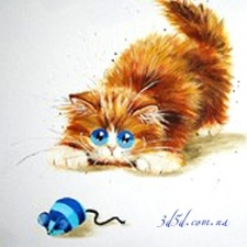 """Набор алмазной мозаики """"Рыжий кот с мышкой"""""""