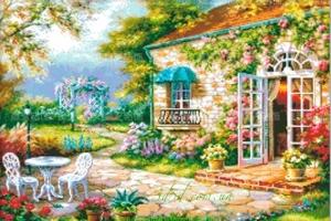 """Набор алмазной мозаики """"Уютный дворик"""""""