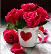 """Набор алмазной мозаики """"Красные розы в чашке"""""""