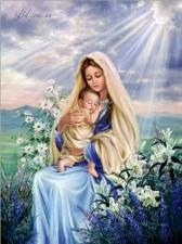 """Набор алмазной мозаики """"Мама с ребенком в лилиях"""""""