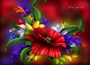 """Набор алмазной мозаики """"Разноцветный цветок"""""""