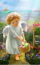 """Набор алмазной мозаики """"Пасхальный ангелочек с корзиной яиц"""""""