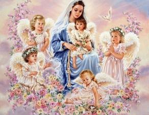 """Набор алмазной вышивки """"Дева Мария с ангелочками"""""""