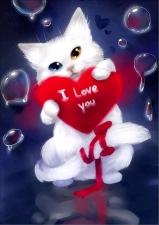 """Набор алмазной мозаики """"Котенок с сердечком"""""""