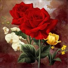 """Набор алмазной мозаики """"Розы с орхидеями"""""""