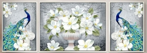 """Набор алмазной мозаики """"Павлины в белых нежных цветах"""""""