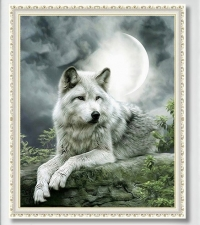 """Набор алмазной мозаики """"Белый волк - символ благодати"""""""