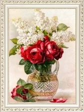 """Набор алмазной вышивки """"Красные розы и белая сирень"""""""