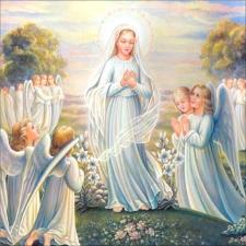 """Набор алмазной мозаики """"Дева Мария с ангелами"""""""
