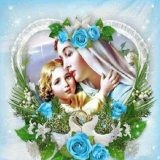 """Набор алмазной мозаики """"Мария с Иисусом в голубых розах"""""""