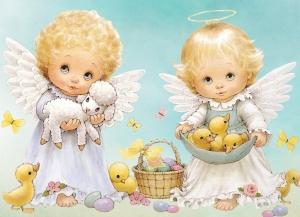 """Набор алмазной мозаики """"Два пасхальных ангелочка"""""""