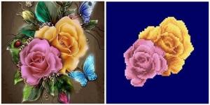 """Набор алмазной мозаики """"Разноцветные розы. Частичная"""""""