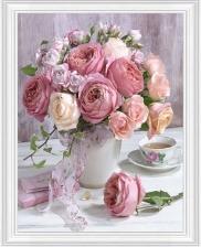 """Набор алмазной вышивки """"Нежные розы и чашка чая"""""""