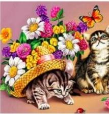 """Набор алмазной вышивки """"Котята в цветах"""""""