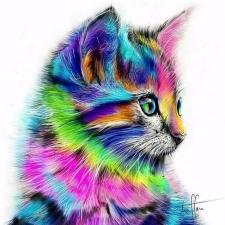 """Набор алмазной мозаики """"Разноцветный котик"""""""