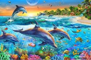 """Набор алмазной мозаики """"Коралловые рифы и дельфины"""""""