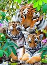 """Набор алмазной мозаики """"Семья тигров частичная"""""""
