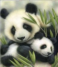 """Набор алмазной мозаики """"Панды в бамбуковых листьях"""""""