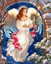 """Набор алмазной вышивки """"Рождественский девушка-ангел со свечой"""""""