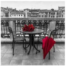 """Набор алмазной вышивки """"Зонтик и розы в кафе"""""""