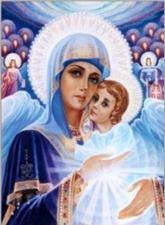 """Набор алмазной мозаики """"Божия Матерь,Иисус и сонм ангелов"""""""