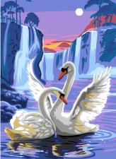 "Набор алмазной вышивки ""Лебеди у водопада"""