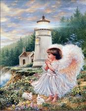 """Набор алмазной вышивки """"Ангелочек у маяка"""""""