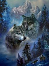 """Набор алмазной вышивки """"Волки в горах"""""""