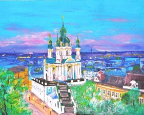 """Набор алмазной мозаики """"Киев. Андреевская церковь"""""""