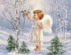 """Набор алмазной мозаики """"Ангелочек с птичкой"""""""